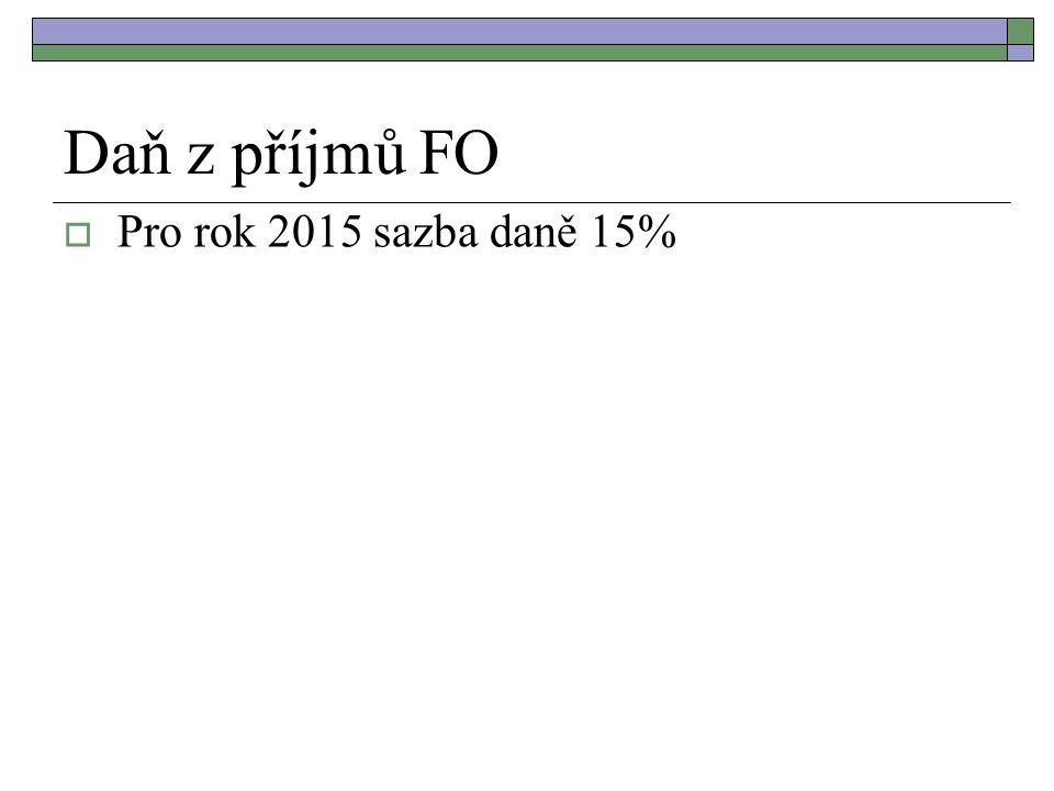 Daň z příjmů FO  Pro rok 2015 sazba daně 15%