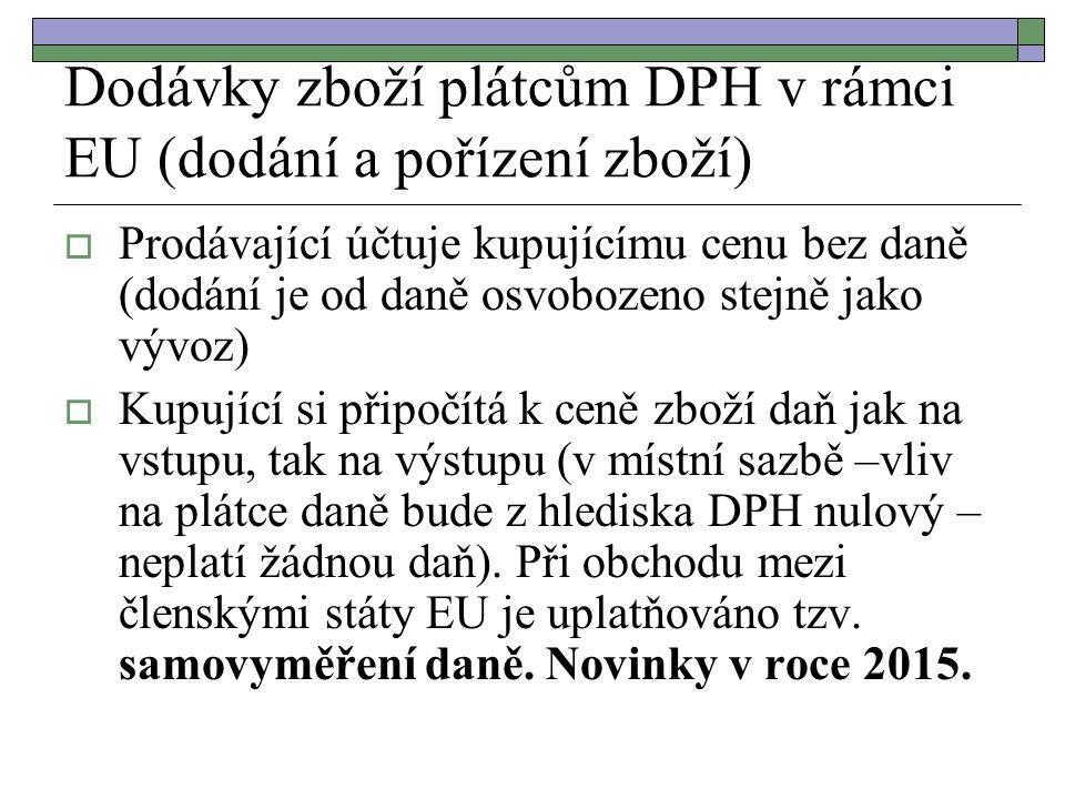 Dodávky zboží plátcům DPH v rámci EU (dodání a pořízení zboží)  Prodávající účtuje kupujícímu cenu bez daně (dodání je od daně osvobozeno stejně jako