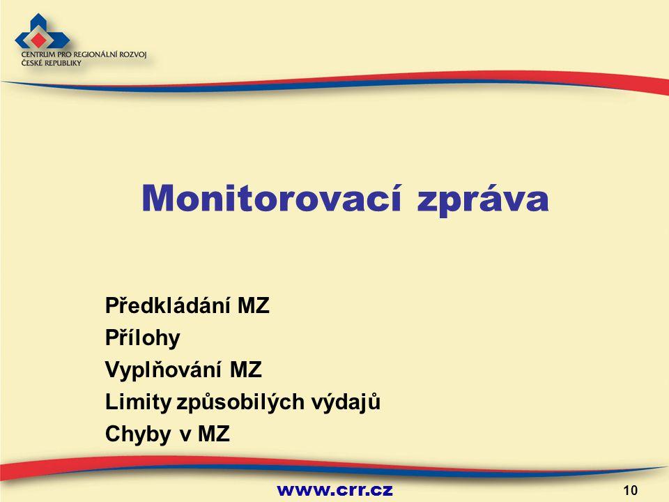 www.crr.cz 10 Monitorovací zpráva Předkládání MZ Přílohy Vyplňování MZ Limity způsobilých výdajů Chyby v MZ