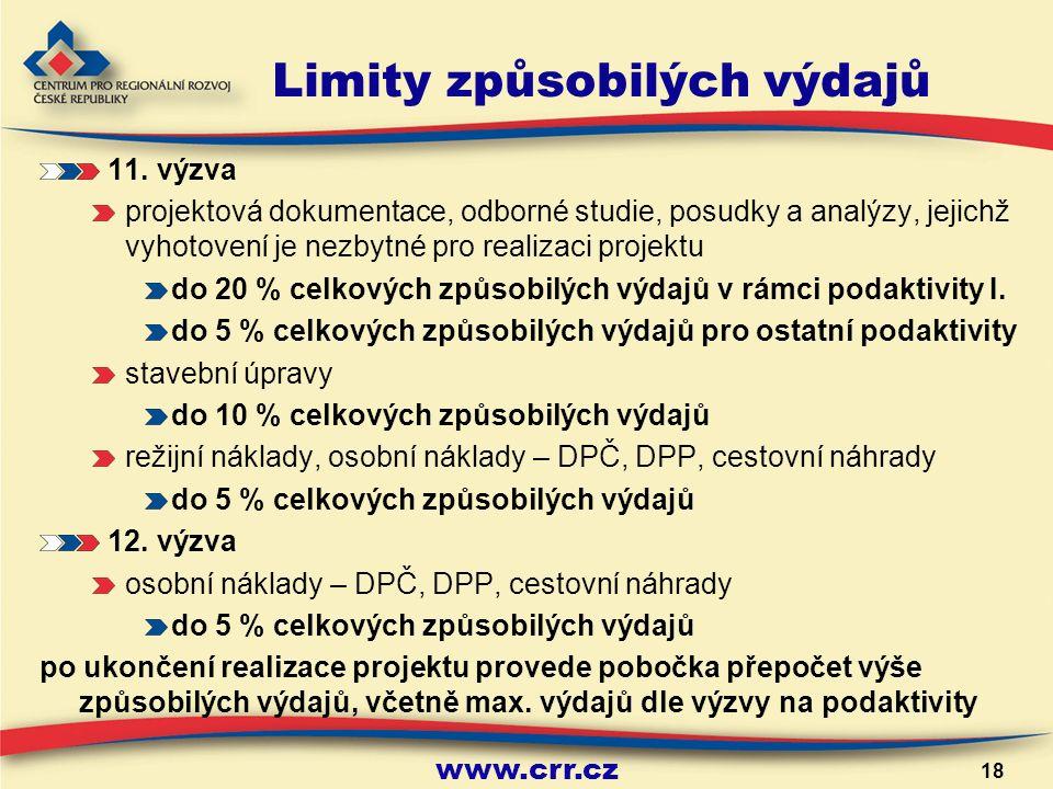 www.crr.cz 18 Limity způsobilých výdajů 11.