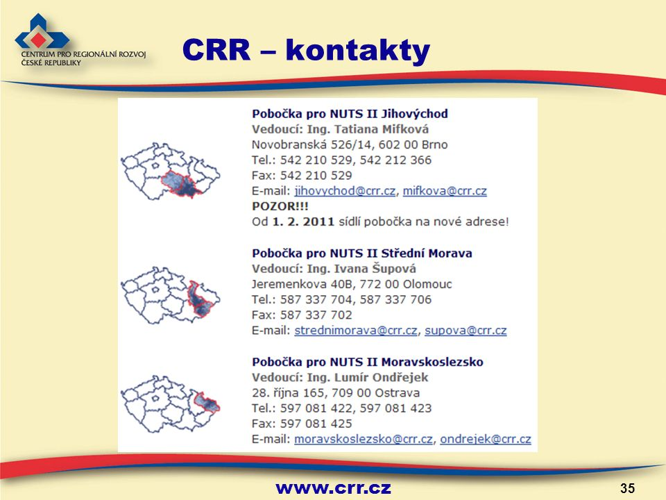 www.crr.cz 35 CRR – kontakty