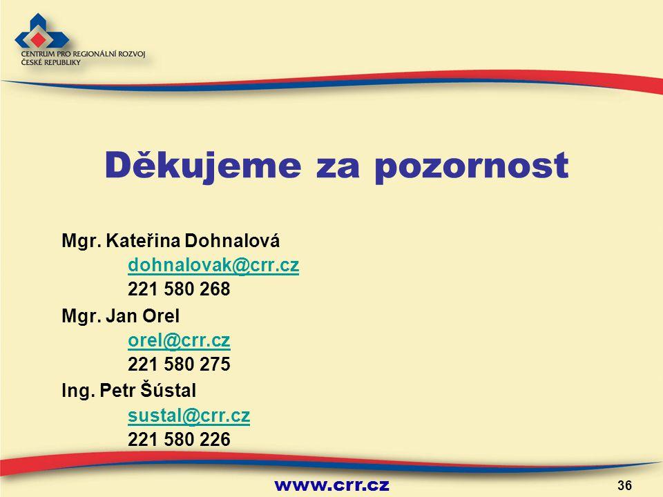 www.crr.cz 36 Děkujeme za pozornost Mgr. Kateřina Dohnalová dohnalovak@crr.cz 221 580 268 Mgr.