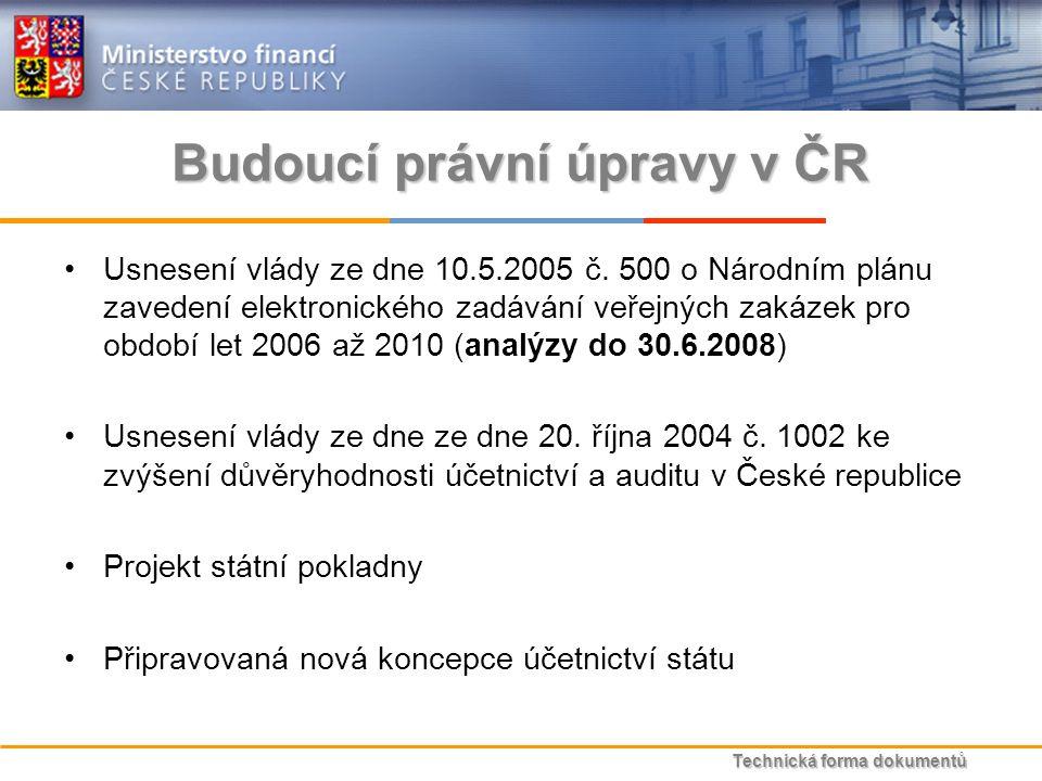 Technická forma dokumentů Budoucí právní úpravy v ČR Usnesení vlády ze dne 10.5.2005 č.