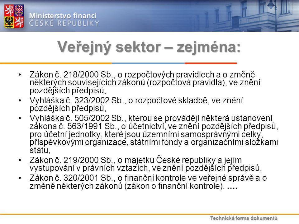 Technická forma dokumentů Veřejný sektor – zejména: Zákon č.