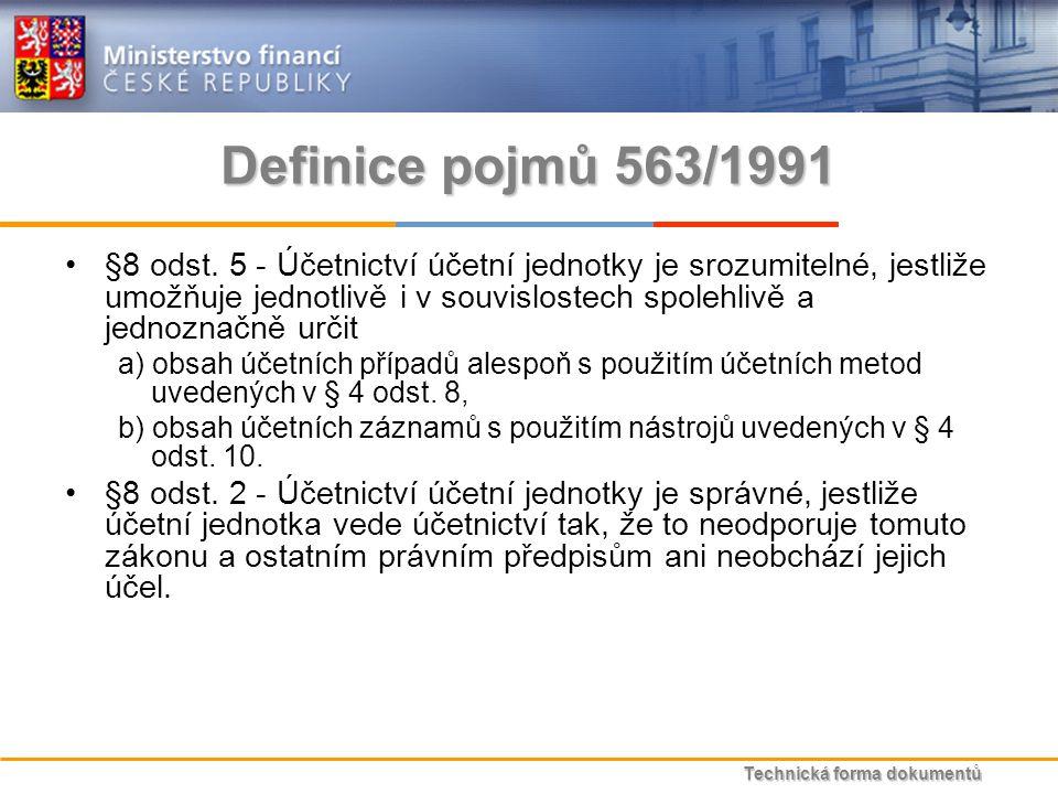 Technická forma dokumentů Definice pojmů 563/1991 §8 odst.