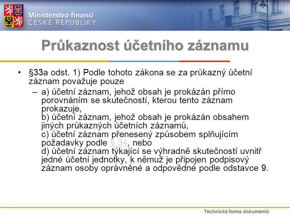 Technická forma dokumentů Průkaznost účetního záznamu §33a odst.