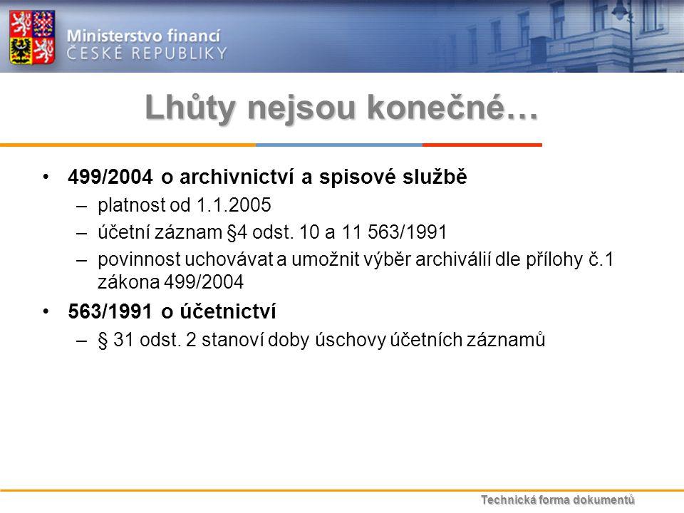 Technická forma dokumentů Lhůty nejsou konečné… 499/2004 o archivnictví a spisové službě –platnost od 1.1.2005 –účetní záznam §4 odst.