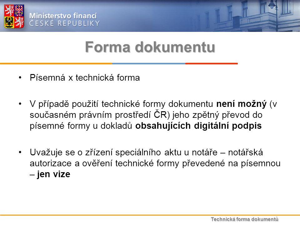 Technická forma dokumentů Forma dokumentu Písemná x technická forma V případě použití technické formy dokumentu není možný (v současném právním prostředí ČR) jeho zpětný převod do písemné formy u dokladů obsahujících digitální podpis Uvažuje se o zřízení speciálního aktu u notáře – notářská autorizace a ověření technické formy převedené na písemnou – jen vize