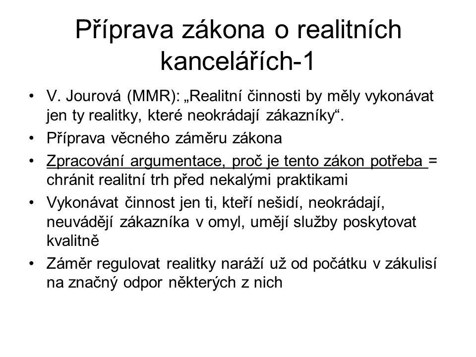 Příprava zákona o realitních kancelářích-1 V.