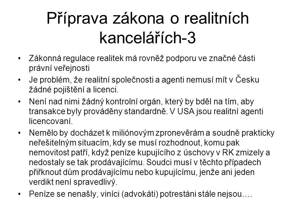 Příprava zákona o realitních kancelářích-3 Zákonná regulace realitek má rovněž podporu ve značné části právní veřejnosti Je problém, že realitní společnosti a agenti nemusí mít v Česku žádné pojištění a licenci.