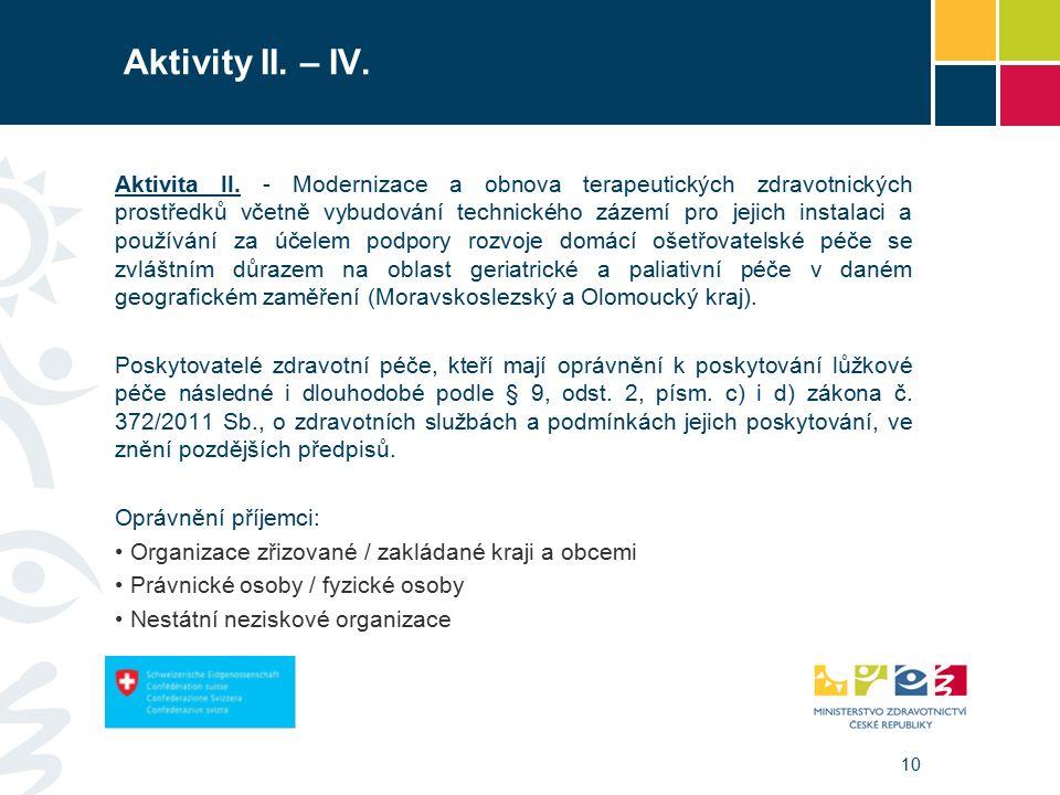 10 Aktivity II. – IV. Aktivita II.