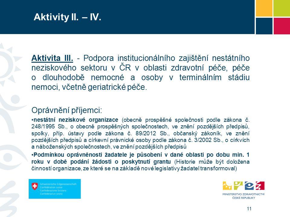 11 Aktivity II. – IV. Aktivita III.