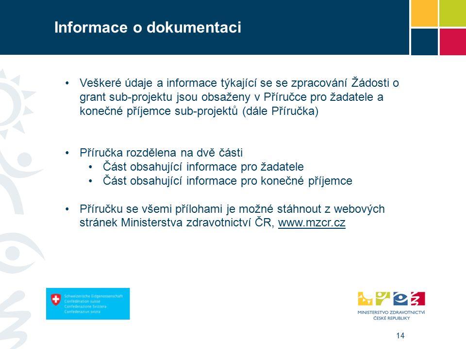 14 Informace o dokumentaci Veškeré údaje a informace týkající se se zpracování Žádosti o grant sub-projektu jsou obsaženy v Příručce pro žadatele a konečné příjemce sub-projektů (dále Příručka) Příručka rozdělena na dvě části Část obsahující informace pro žadatele Část obsahující informace pro konečné příjemce Příručku se všemi přílohami je možné stáhnout z webových stránek Ministerstva zdravotnictví ČR, www.mzcr.czwww.mzcr.cz