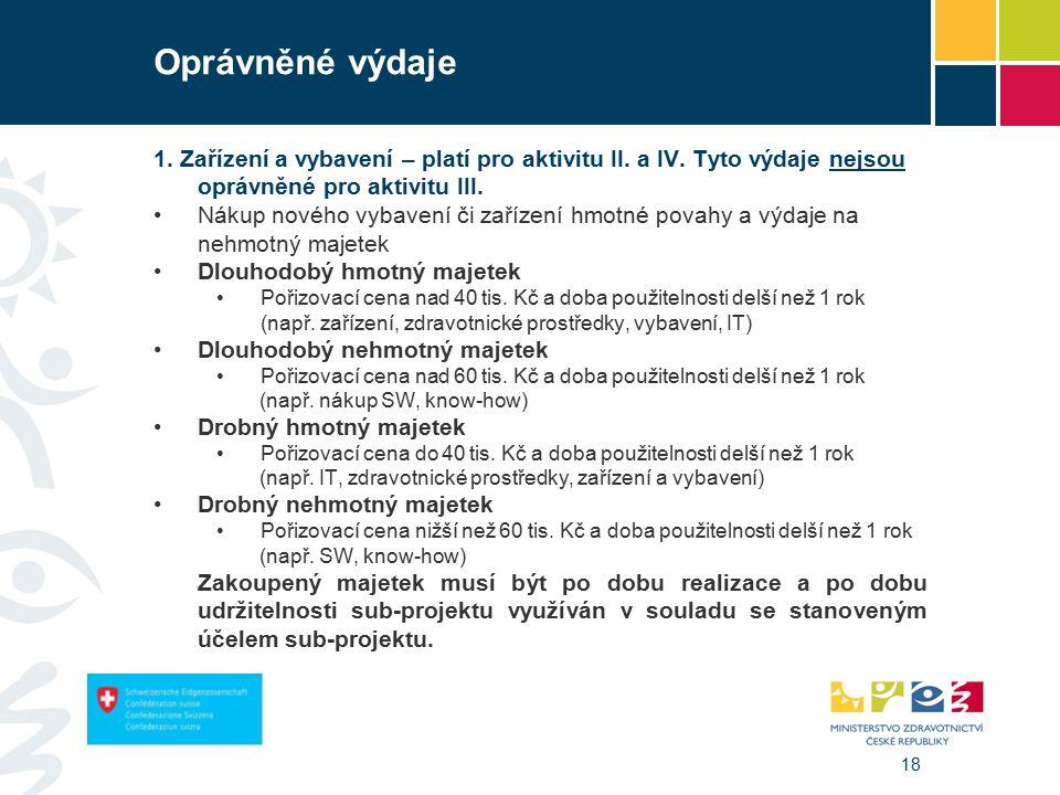 18 Oprávněné výdaje 1. Zařízení a vybavení – platí pro aktivitu II.