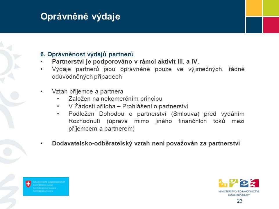 23 Oprávněné výdaje 6. Oprávněnost výdajů partnerů Partnerství je podporováno v rámci aktivit III.