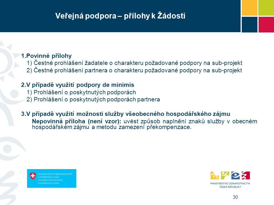 30 Veřejná podpora – přílohy k Žádosti 1.Povinné přílohy 1) Čestné prohlášení žadatele o charakteru požadované podpory na sub-projekt 2) Čestné prohlášení partnera o charakteru požadované podpory na sub-projekt 2.V případě využití podpory de minimis 1) Prohlášení o poskytnutých podporách 2) Prohlášení o poskytnutých podporách partnera  V případě využití možnosti služby všeobecného hospodářského zájmu Nepovinná příloha (není vzor): uvést způsob naplnění znaků služby v obecném hospodářském zájmu a metodu zamezení překompenzace.
