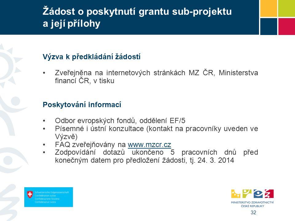 32 Žádost o poskytnutí grantu sub-projektu a její přílohy Výzva k předkládání žádostí Zveřejněna na internetových stránkách MZ ČR, Ministerstva financí ČR, v tisku Poskytování informací Odbor evropských fondů, oddělení EF/5 Písemné i ústní konzultace (kontakt na pracovníky uveden ve Výzvě) FAQ zveřejňovány na www.mzcr.czwww.mzcr.cz Zodpovídání dotazů ukončeno 5 pracovních dnů před konečným datem pro předložení žádosti, tj.
