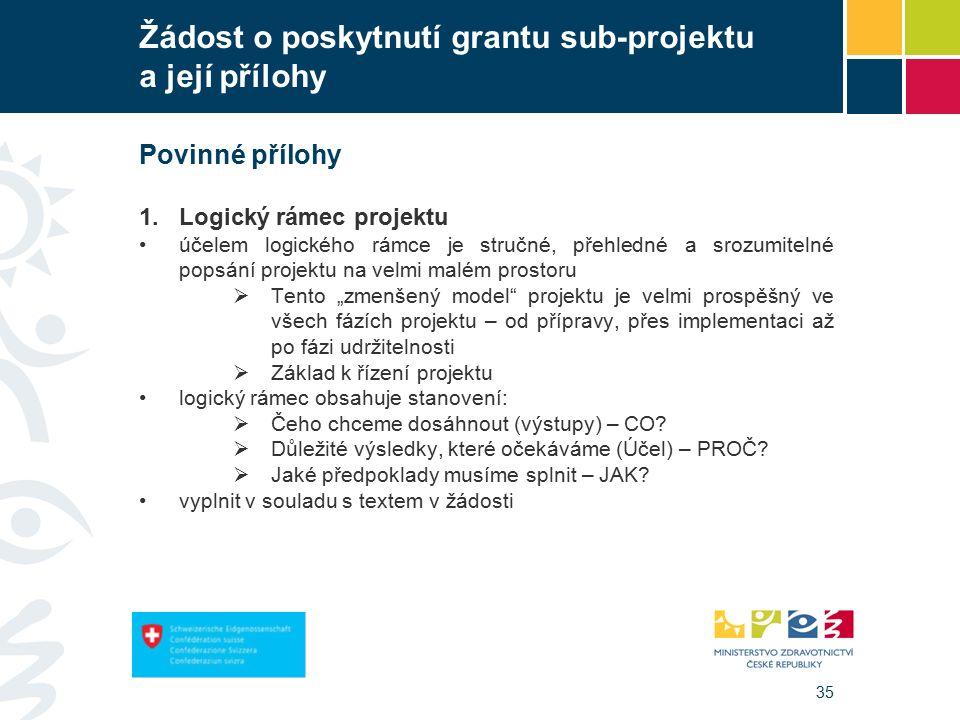 """35 Žádost o poskytnutí grantu sub-projektu a její přílohy Povinné přílohy 1.Logický rámec projektu účelem logického rámce je stručné, přehledné a srozumitelné popsání projektu na velmi malém prostoru  Tento """"zmenšený model projektu je velmi prospěšný ve všech fázích projektu – od přípravy, přes implementaci až po fázi udržitelnosti  Základ k řízení projektu logický rámec obsahuje stanovení:  Čeho chceme dosáhnout (výstupy) – CO."""