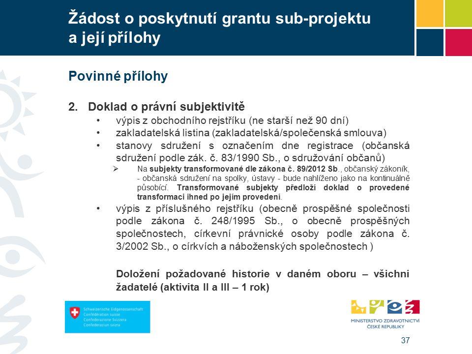 37 Žádost o poskytnutí grantu sub-projektu a její přílohy Povinné přílohy 2.