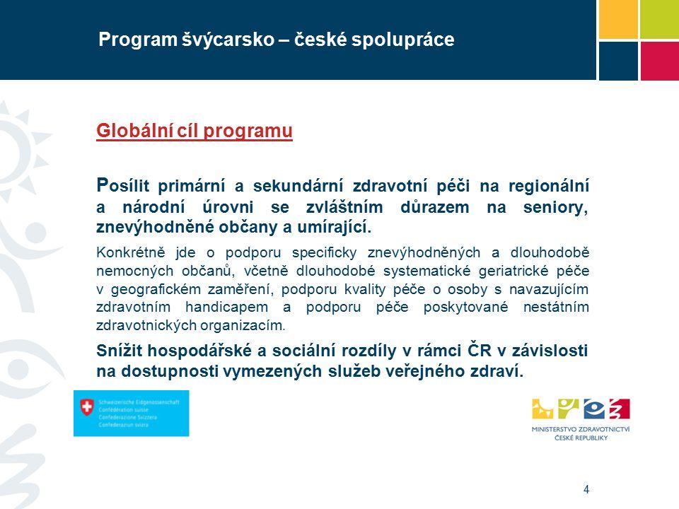 4 Program švýcarsko – české spolupráce Globální cíl programu P osílit primární a sekundární zdravotní péči na regionální a národní úrovni se zvláštním důrazem na seniory, znevýhodněné občany a umírající.