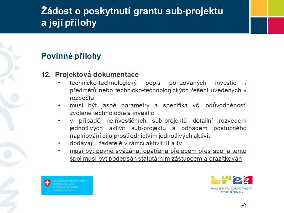 43 Žádost o poskytnutí grantu sub-projektu a její přílohy Povinné přílohy 12.