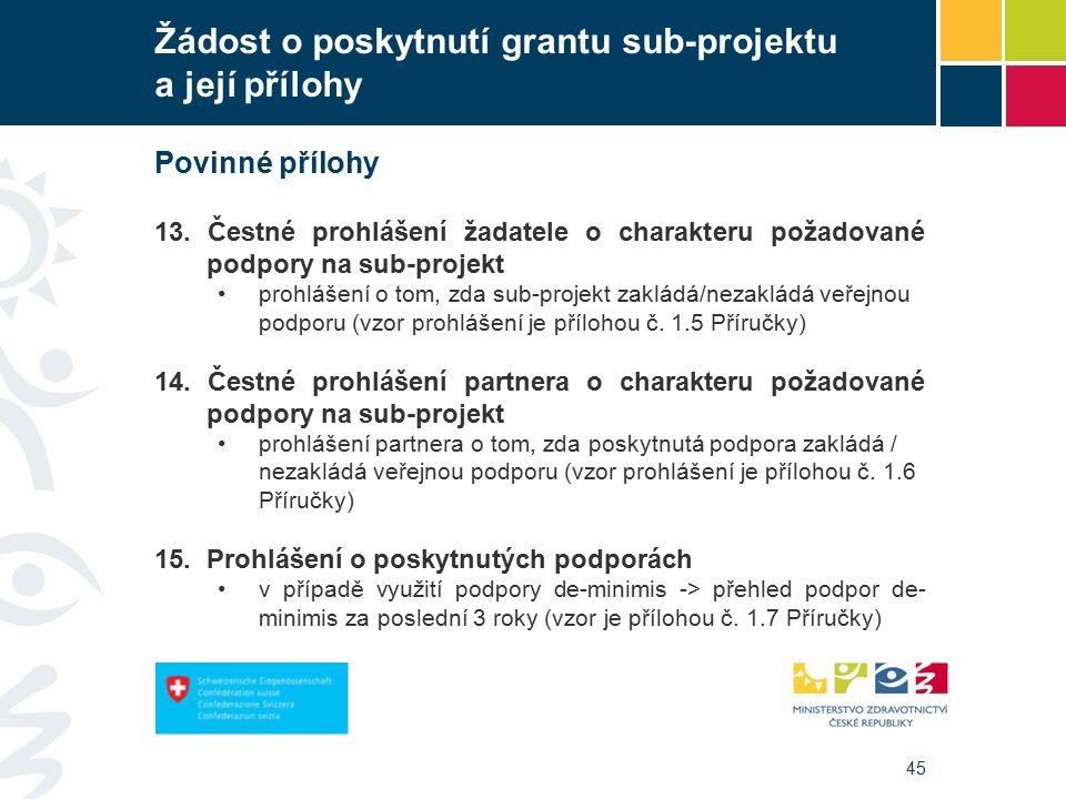 45 Žádost o poskytnutí grantu sub-projektu a její přílohy Povinné přílohy 13.