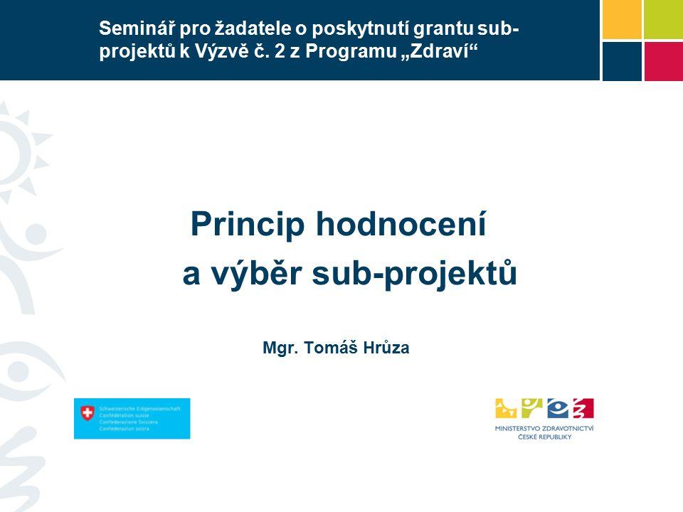 Seminář pro žadatele o poskytnutí grantu sub- projektů k Výzvě č.