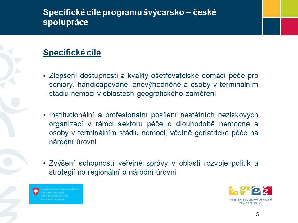 5 Specifické cíle programu švýcarsko – české spolupráce Specifické cíle Zlepšení dostupnosti a kvality ošetřovatelské domácí péče pro seniory, handicapované, znevýhodněné a osoby v terminálním stádiu nemoci v oblastech geografického zaměření Institucionální a profesionální posílení nestátních neziskových organizací v rámci sektoru péče o dlouhodobě nemocné a osoby v terminálním stádiu nemoci, včetně geriatrické péče na národní úrovni Zvýšení schopností veřejné správy v oblasti rozvoje politik a strategií na regionální a národní úrovni
