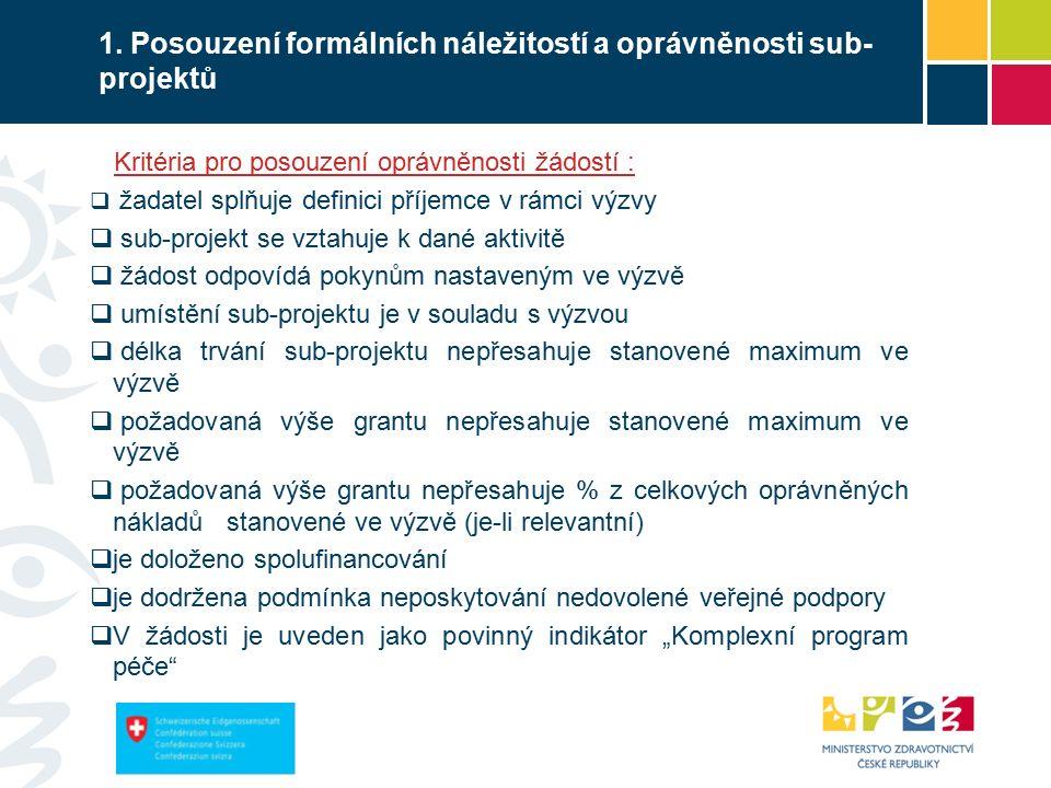 1. Posouzení formálních náležitostí a oprávněnosti sub- projektů Kritéria pro posouzení oprávněnosti žádostí :  žadatel splňuje definici příjemce v r