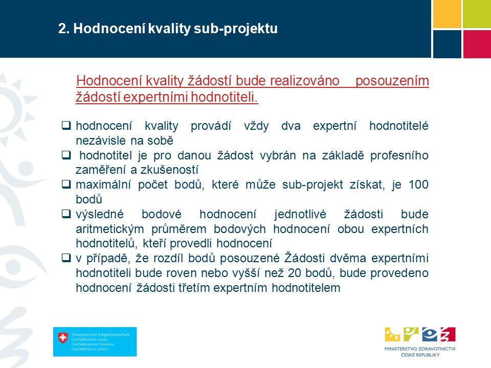2. Hodnocení kvality sub-projektu Hodnocení kvality žádostí bude realizováno posouzením žádostí expertními hodnotiteli.  hodnocení kvality provádí vž