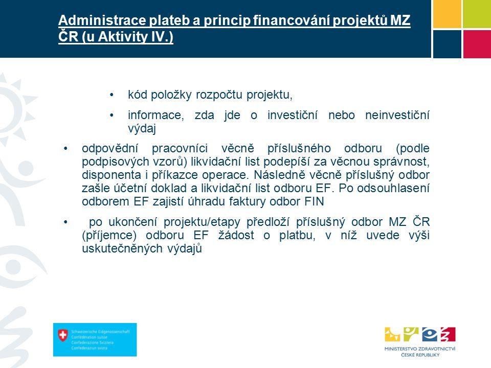 Administrace plateb a princip financování projektů MZ ČR (u Aktivity IV.) kód položky rozpočtu projektu, informace, zda jde o investiční nebo neinvestiční výdaj odpovědní pracovníci věcně příslušného odboru (podle podpisových vzorů) likvidační list podepíší za věcnou správnost, disponenta i příkazce operace.