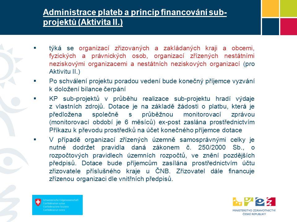 Administrace plateb a princip financování sub- projektů (Aktivita II.)  týká se organizací zřizovaných a zakládaných kraji a obcemi, fyzických a právnických osob, organizací zřízených nestátními neziskovými organizacemi a nestátních neziskových organizací (pro Aktivitu II.)  Po schválení projektu poradou vedení bude konečný příjemce vyzvání k doložení bilance čerpání  KP sub-projektů v průběhu realizace sub-projektu hradí výdaje z vlastních zdrojů.