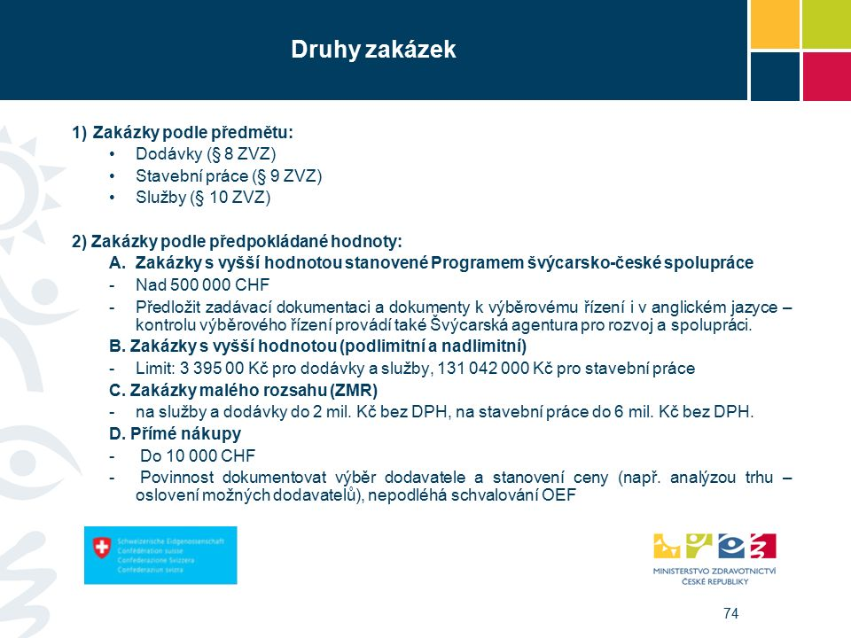 74 Druhy zakázek 1)Zakázky podle předmětu: Dodávky (§ 8 ZVZ) Stavební práce (§ 9 ZVZ) Služby (§ 10 ZVZ) 2) Zakázky podle předpokládané hodnoty: A.Zakázky s vyšší hodnotou stanovené Programem švýcarsko-české spolupráce -Nad 500 000 CHF -Předložit zadávací dokumentaci a dokumenty k výběrovému řízení i v anglickém jazyce – kontrolu výběrového řízení provádí také Švýcarská agentura pro rozvoj a spolupráci.
