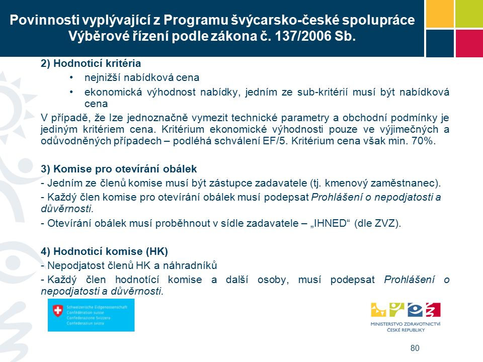 80 Povinnosti vyplývající z Programu švýcarsko-české spolupráce Výběrové řízení podle zákona č.