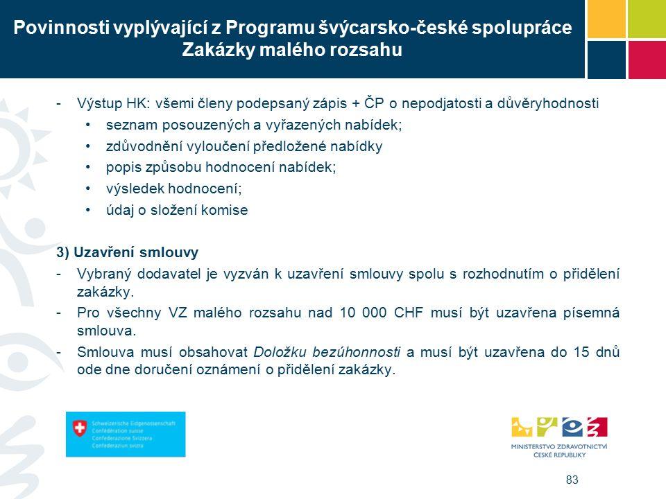 83 Povinnosti vyplývající z Programu švýcarsko-české spolupráce Zakázky malého rozsahu -Výstup HK: všemi členy podepsaný zápis + ČP o nepodjatosti a důvěryhodnosti seznam posouzených a vyřazených nabídek; zdůvodnění vyloučení předložené nabídky popis způsobu hodnocení nabídek; výsledek hodnocení; údaj o složení komise 3) Uzavření smlouvy -Vybraný dodavatel je vyzván k uzavření smlouvy spolu s rozhodnutím o přidělení zakázky.