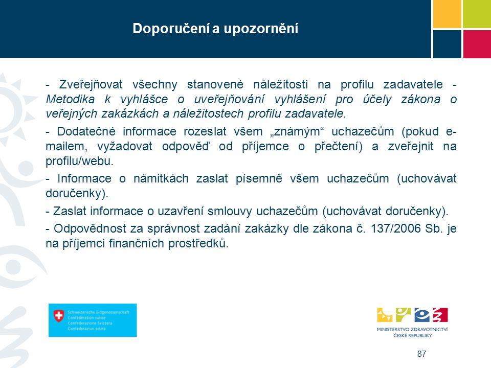 87 Doporučení a upozornění - Zveřejňovat všechny stanovené náležitosti na profilu zadavatele - Metodika k vyhlášce o uveřejňování vyhlášení pro účely zákona o veřejných zakázkách a náležitostech profilu zadavatele.