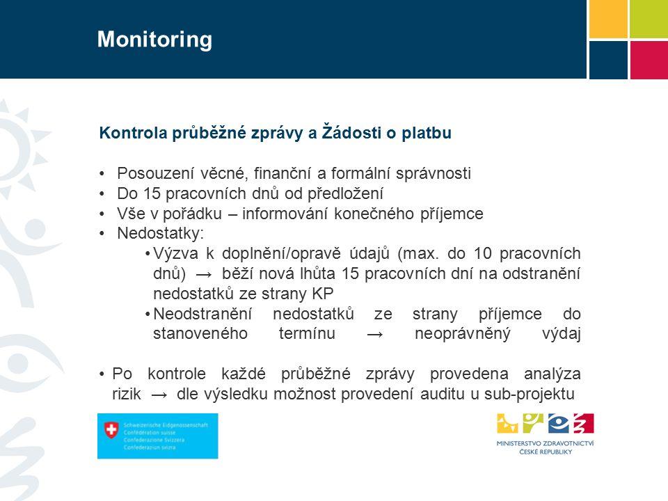 Monitoring Kontrola průběžné zprávy a Žádosti o platbu Posouzení věcné, finanční a formální správnosti Do 15 pracovních dnů od předložení Vše v pořádku – informování konečného příjemce Nedostatky: Výzva k doplnění/opravě údajů (max.