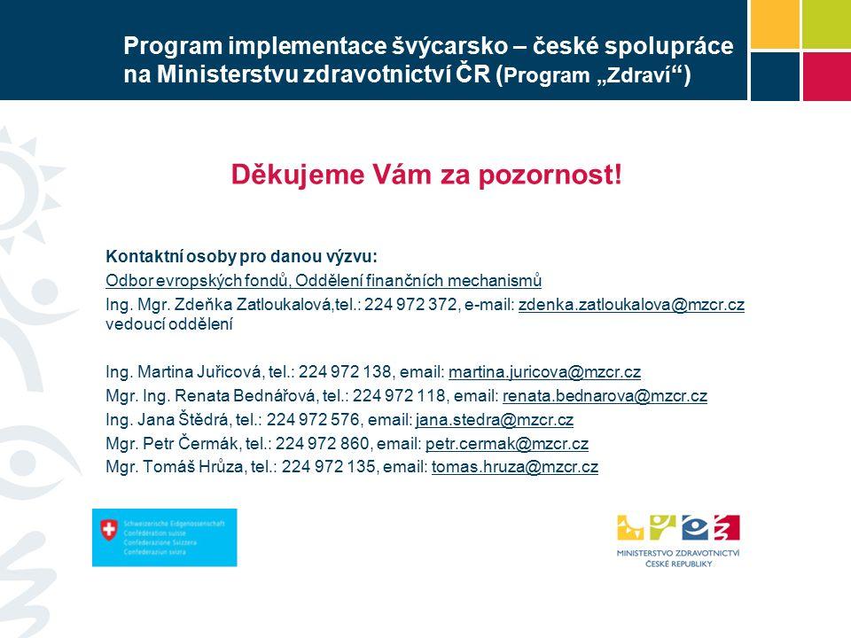 """Program implementace švýcarsko – české spolupráce na Ministerstvu zdravotnictví ČR ( Program """"Zdraví ) Děkujeme Vám za pozornost."""