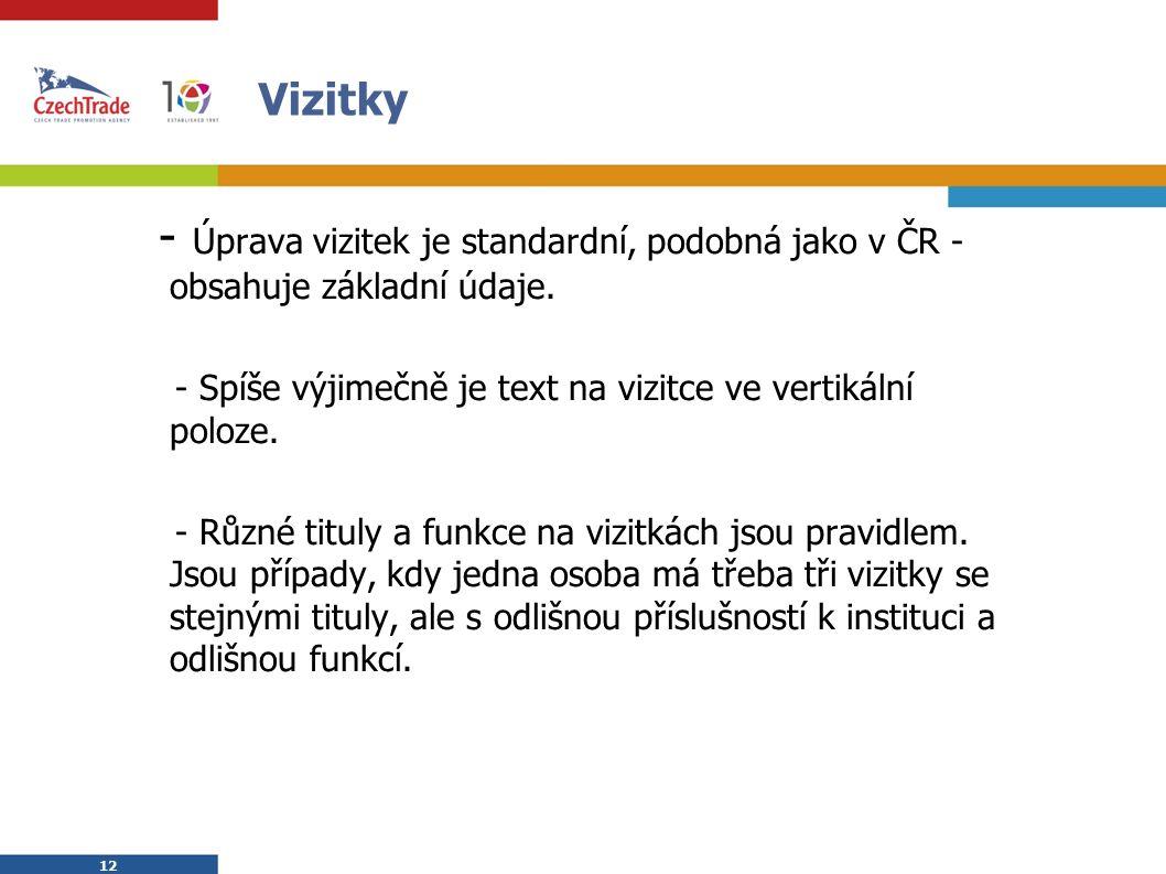 12 Vizitky - Úprava vizitek je standardní, podobná jako v ČR - obsahuje základní údaje.