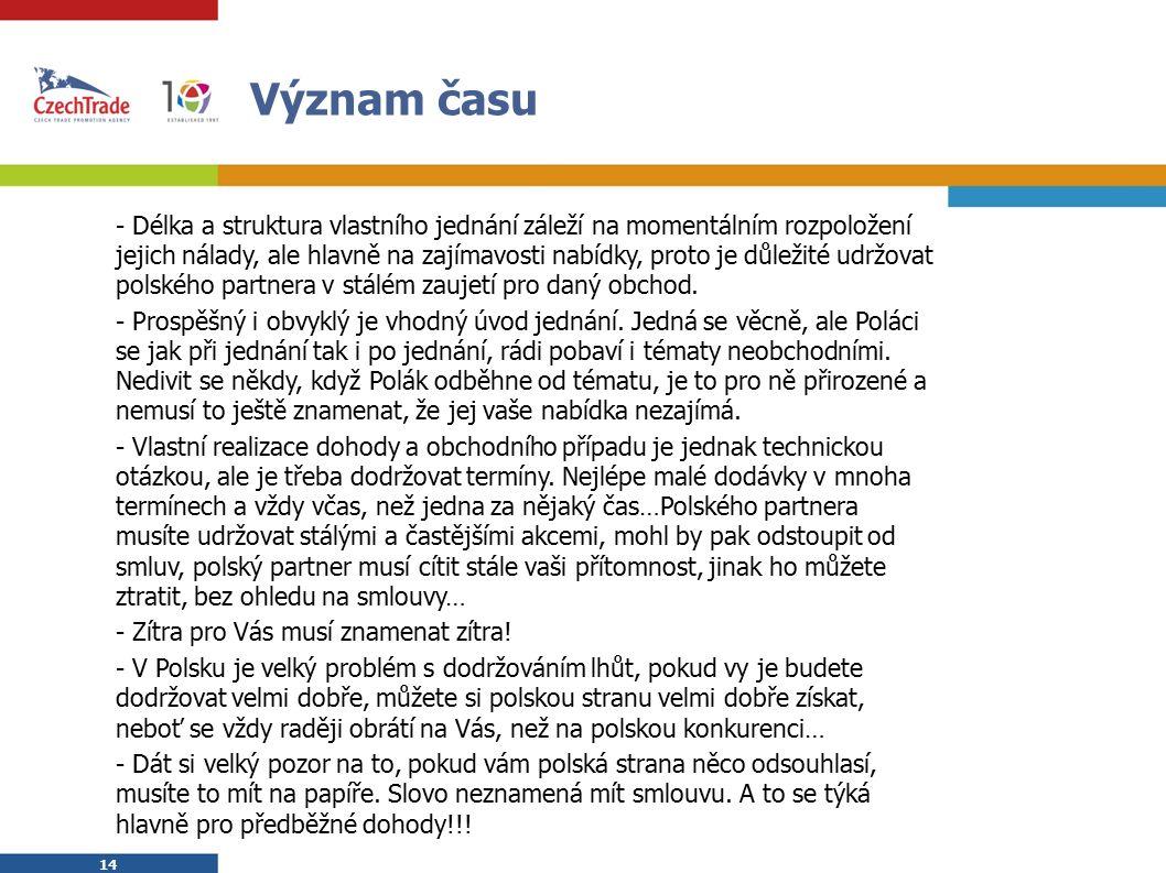 14 Význam času  - Délka a struktura vlastního jednání záleží na momentálním rozpoložení jejich nálady, ale hlavně na zajímavosti nabídky, proto je důležité udržovat polského partnera v stálém zaujetí pro daný obchod.