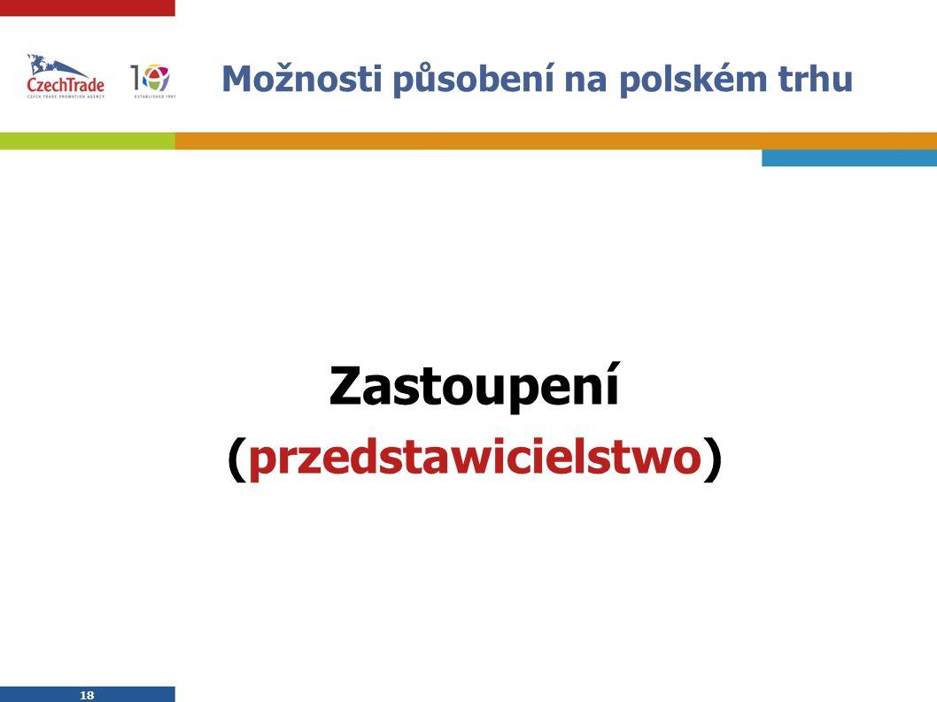 18 Možnosti působení na polském trhu Zastoupení (przedstawicielstwo)