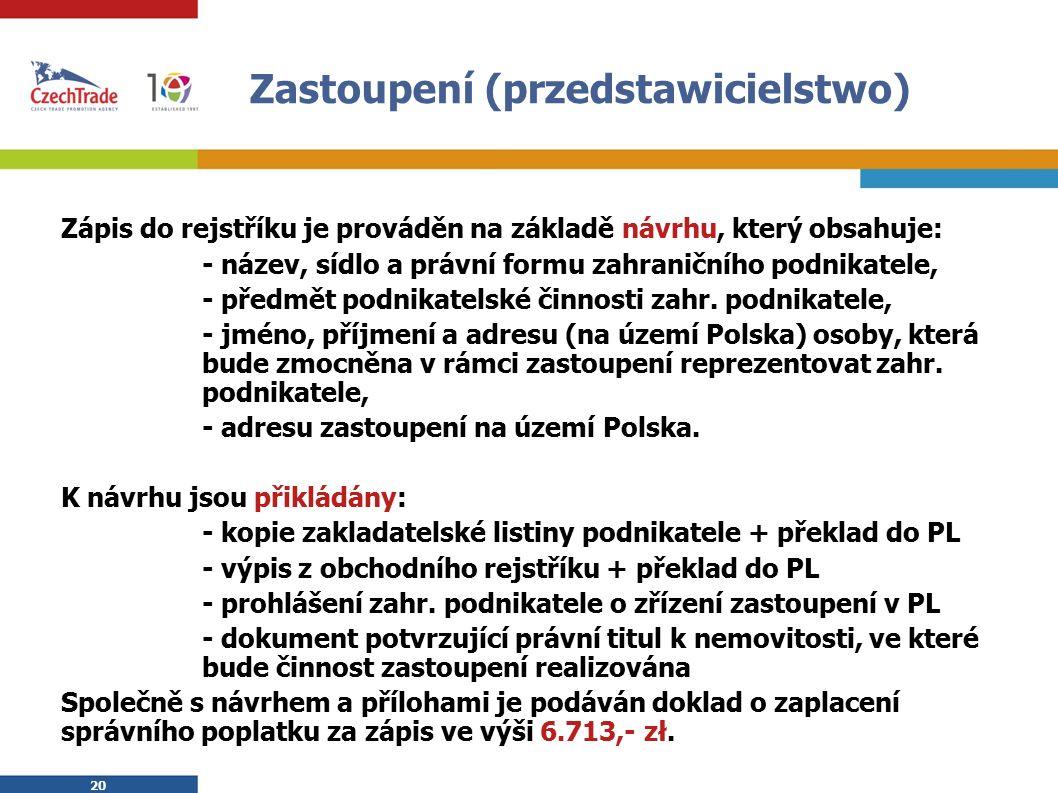 20 Zastoupení (przedstawicielstwo) Zápis do rejstříku je prováděn na základě návrhu, který obsahuje: - název, sídlo a právní formu zahraničního podnikatele, - předmět podnikatelské činnosti zahr.