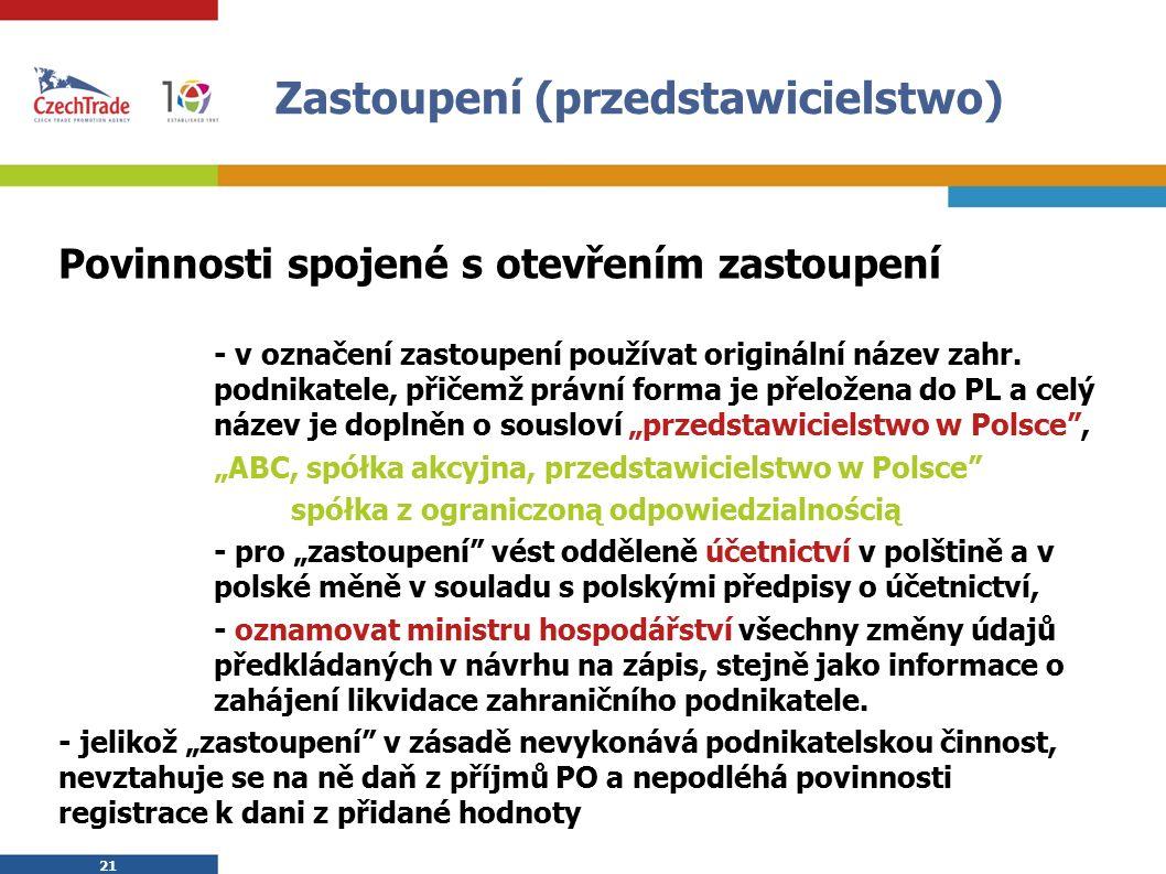 21 Zastoupení (przedstawicielstwo) Povinnosti spojené s otevřením zastoupení - v označení zastoupení používat originální název zahr.