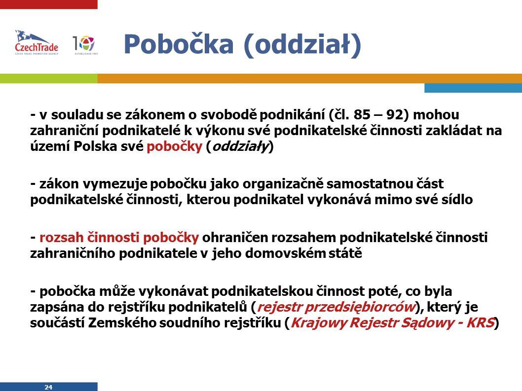 24 Pobočka (oddział) - v souladu se zákonem o svobodě podnikání (čl.