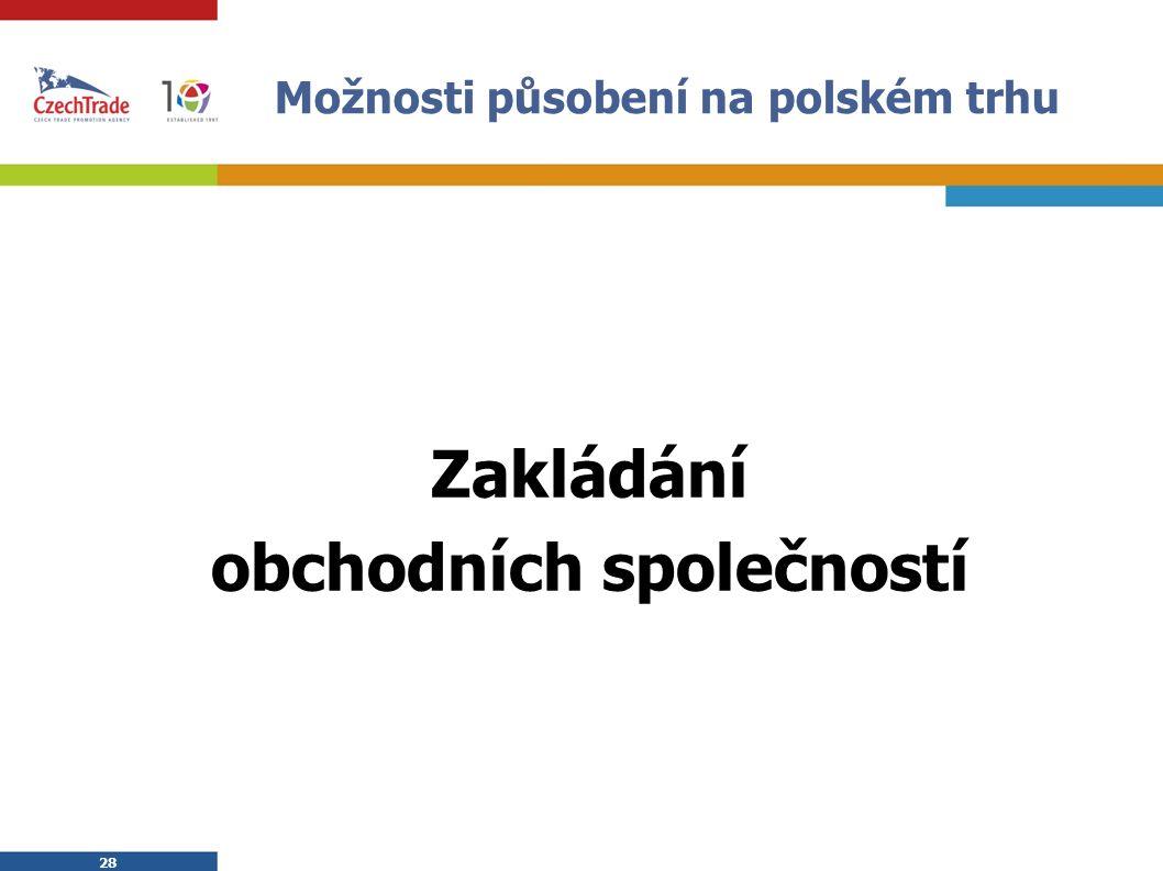 28 Možnosti působení na polském trhu Zakládání obchodních společností