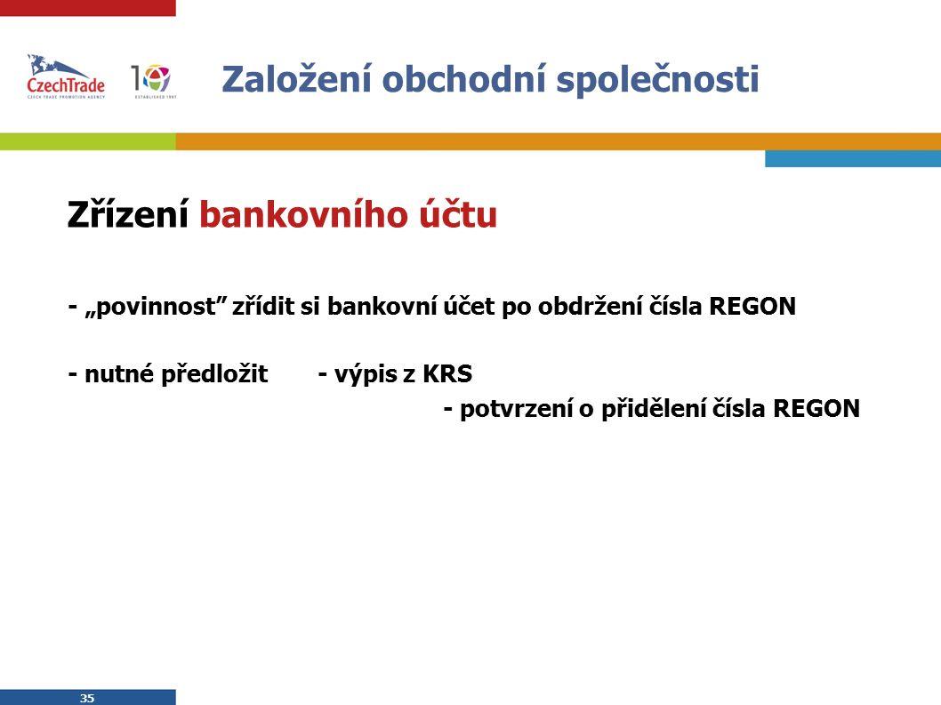 """35 Založení obchodní společnosti Zřízení bankovního účtu - """"povinnost zřídit si bankovní účet po obdržení čísla REGON - nutné předložit - výpis z KRS - potvrzení o přidělení čísla REGON"""