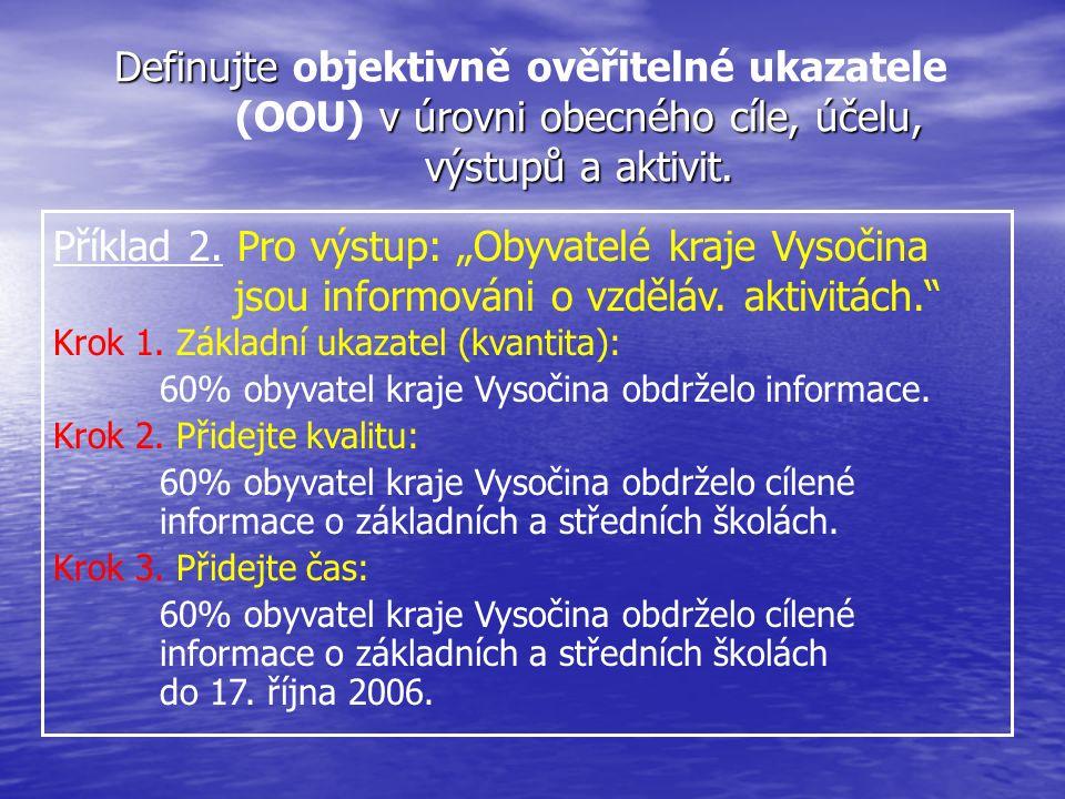 """Příklad 2. Pro výstup: """"Obyvatelé kraje Vysočina jsou informováni o vzděláv. aktivitách."""" Krok 1. Základní ukazatel (kvantita): 60% obyvatel kraje Vys"""