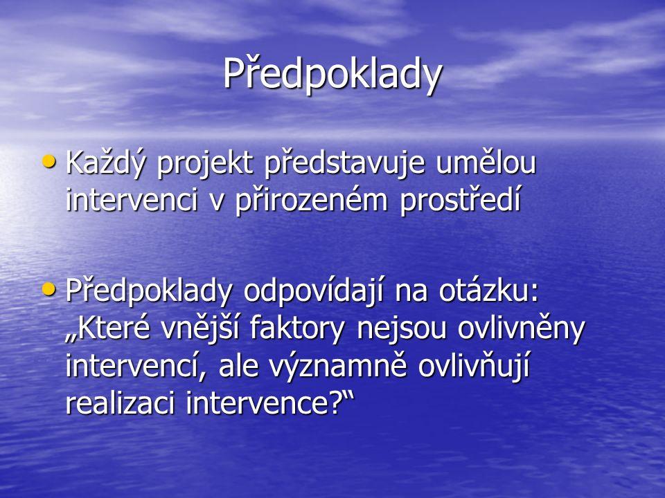 Předpoklady Každý projekt představuje umělou intervenci v přirozeném prostředí Každý projekt představuje umělou intervenci v přirozeném prostředí Před