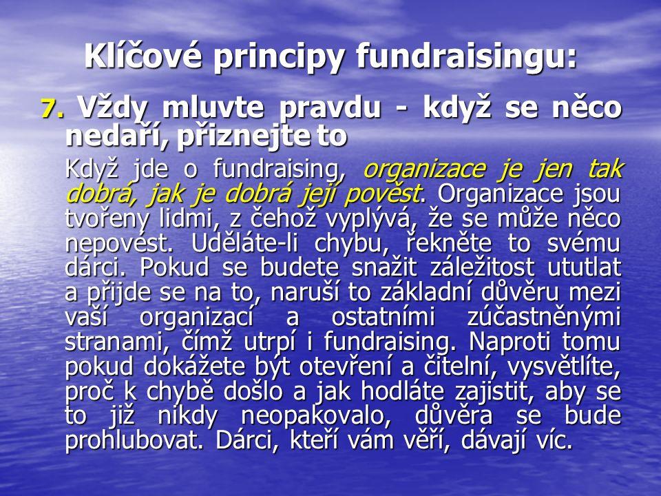 Klíčové principy fundraisingu: 7. Vždy mluvte pravdu - když se něco nedaří, přiznejte to Když jde o fundraising, organizace je jen tak dobrá, jak je d