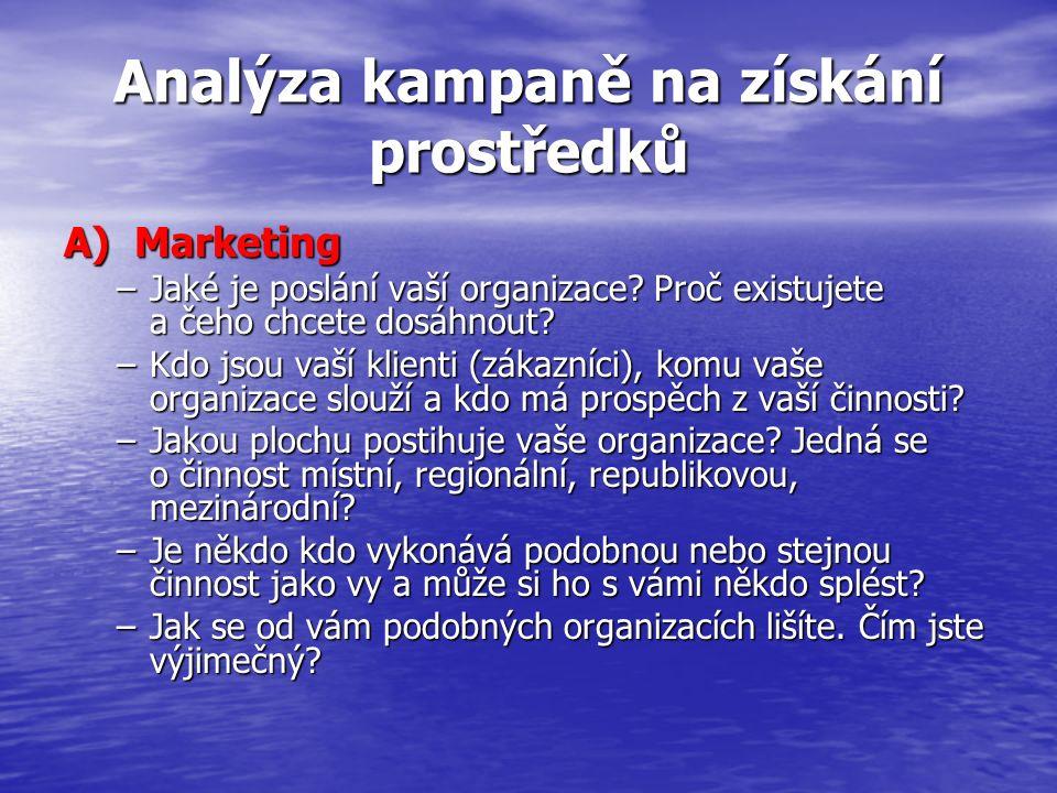 Analýza kampaně na získání prostředků A) Marketing –Jaké je poslání vaší organizace? Proč existujete a čeho chcete dosáhnout? –Kdo jsou vaší klienti (
